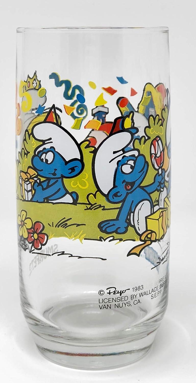 Smurfette /& Harmony Smurf Drinking Glasses 2 PC Set 1983 Peyo