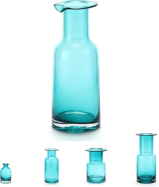 Glass Vase For Flowers Clear Blue Green 7 7 Tall Handmade Small Vintage Blue Vases With Bottle Shape For Living Room Kitchen Luxurious Elegant Turquoise Home Decor Kitchen Dining