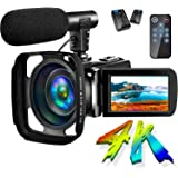 Camcorder Video Camera 4K 30MP Digital Camcorder Camera with Microphone Ultra HD Vlogging Camera with Remote Control Rotatabl