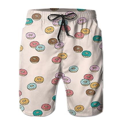623a680ca1 Amazon.com : Bdna Cute Doughnut Men's Beach Shorts Swim Trunks ...