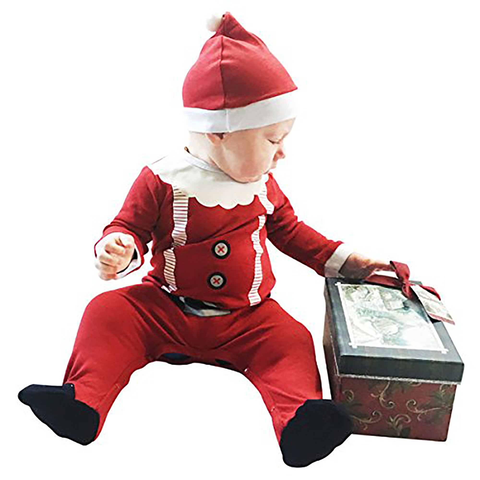 Fayfaire Christmas Pajamas Boutique Quality: Adorable Xmas Santa Suit with Hat 6-12M by Fayfaire (Image #4)