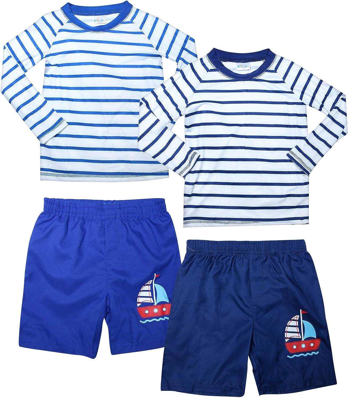 Sweet /& Soft Boys UPF 50 Infant//Toddler//Big Kid Boys Long Sleeve 2 Piece Rash Guard /& Trunk Swimsuit Set