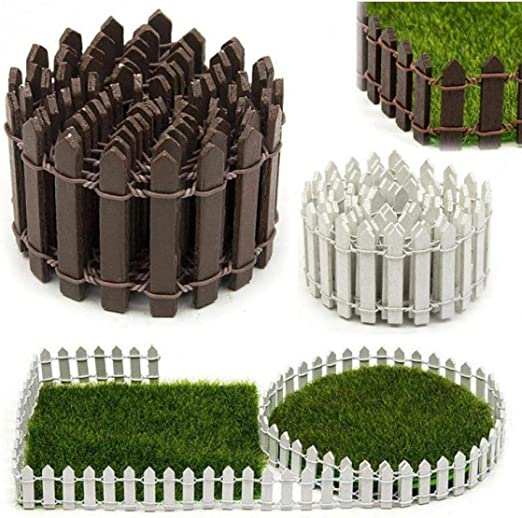 AMOYER Cerca De Madera Larga Valla De Estacas De La Cerca Decorativa para Jardín Miniatura Hada Adornos De Jardín Blanca: Amazon.es: Hogar