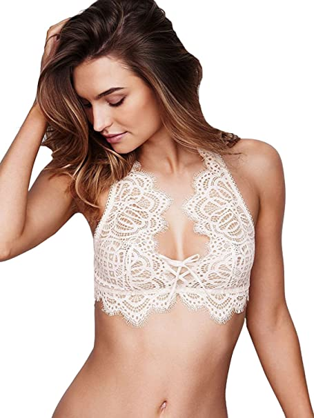 97125c349c199 Image Unavailable. Image not available for. Color  Victoria s Secret Dream  Angels The Laced-up Bralette Coconut White Small
