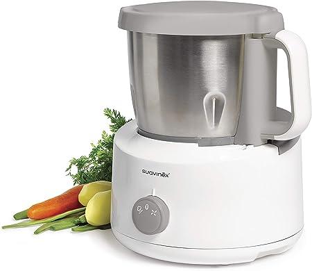 Suavinex - Robot de Cocina Bebé 5 en 1: Cocina, Tritura, Calienta, Descongela y Esteriliza. Super Rápido, Fácil de Usar y Limpiar. Jarra y Cuchillas de Acero Inoxidable: Amazon.es: Bebé
