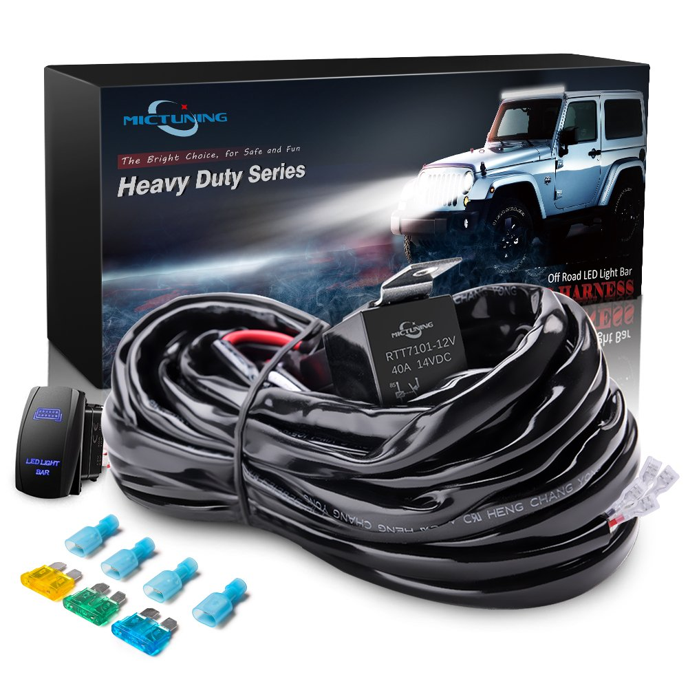 MICTUNING HD 300w LED Light Bar Wiring Harness Fuse 40 Amp Relay ON-OFF  Rocker