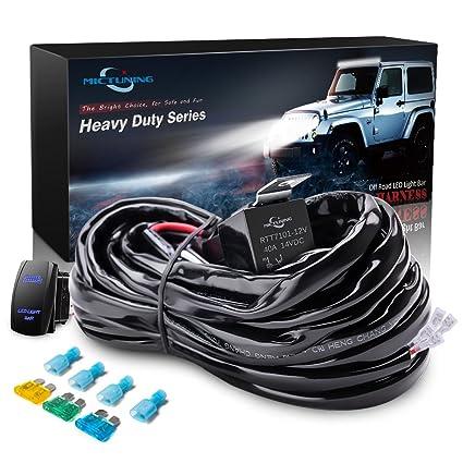 amazon com mictuning hd 300w led light bar wiring harness fuse 40 rh amazon com