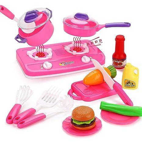 Peradix Set Cucina Giocattolo Bambini Piatti Giocattolo (Kit ...