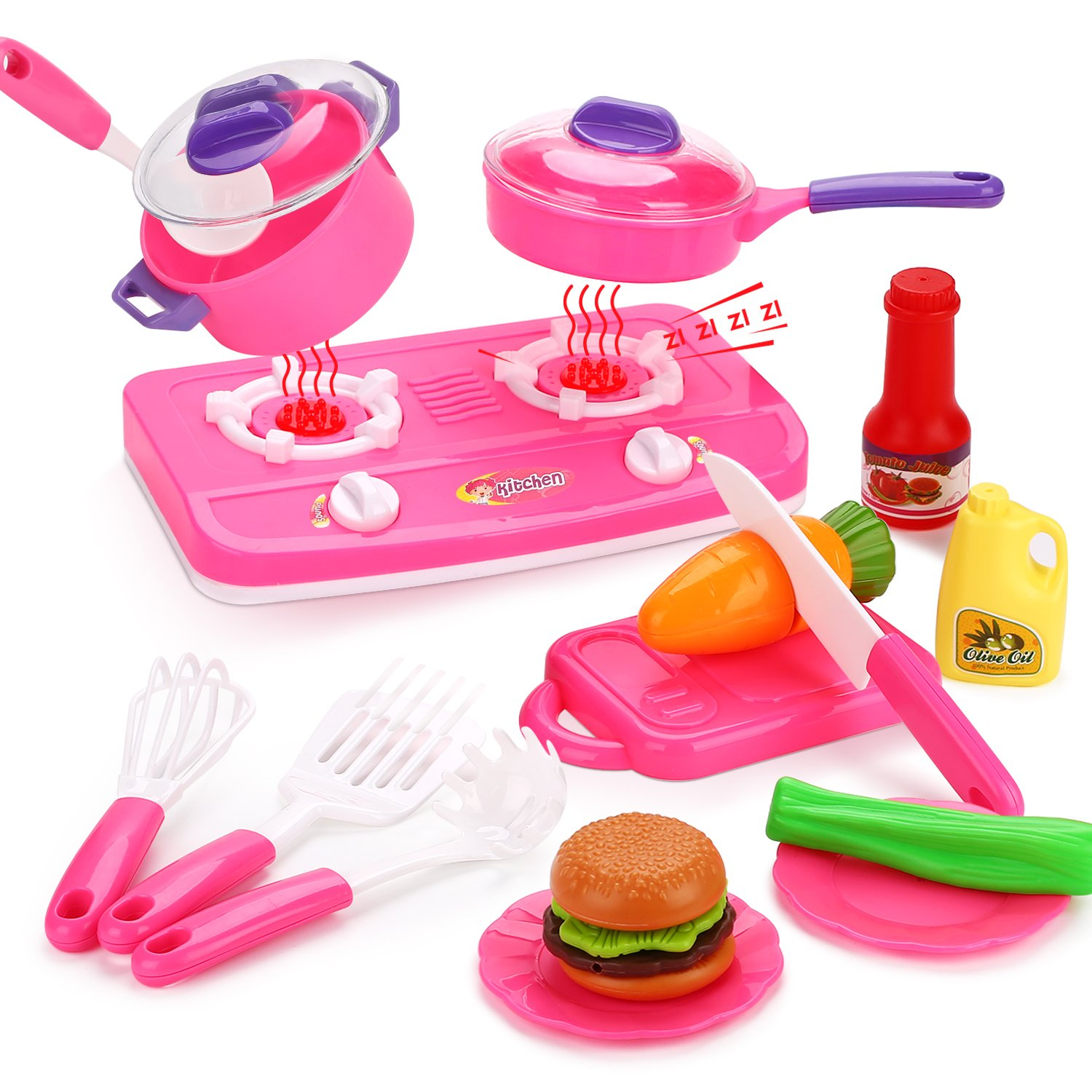 Peradix Assorted Kitchen Appliance Toys & Play Food Cooking for Kids Early Age Development Educational (22pcs)