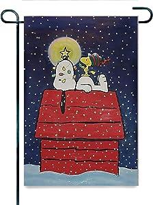Runbar Christmas Snoopy and Woodstock Linen Garden Flag Perfect Decor for Outdoor Yard 12 x 18 Inch