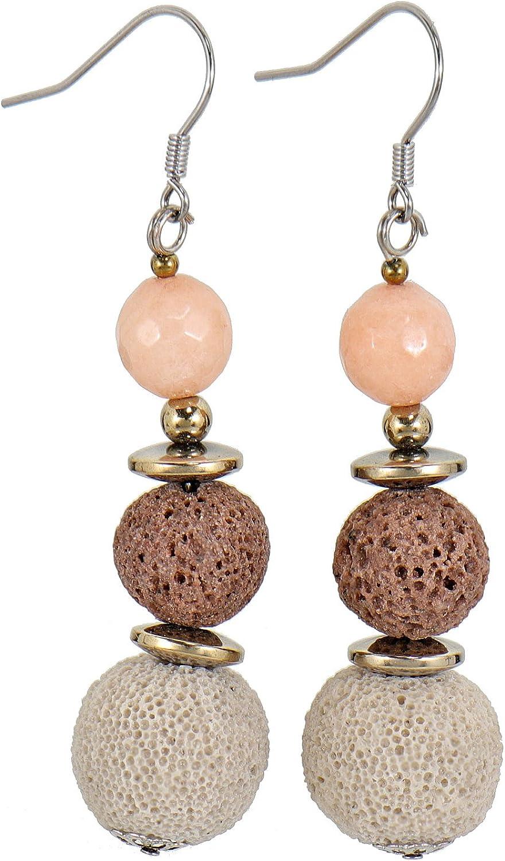 Lassiere - Pendientes para mujer de acero inoxidable, color rosa, cuarzo