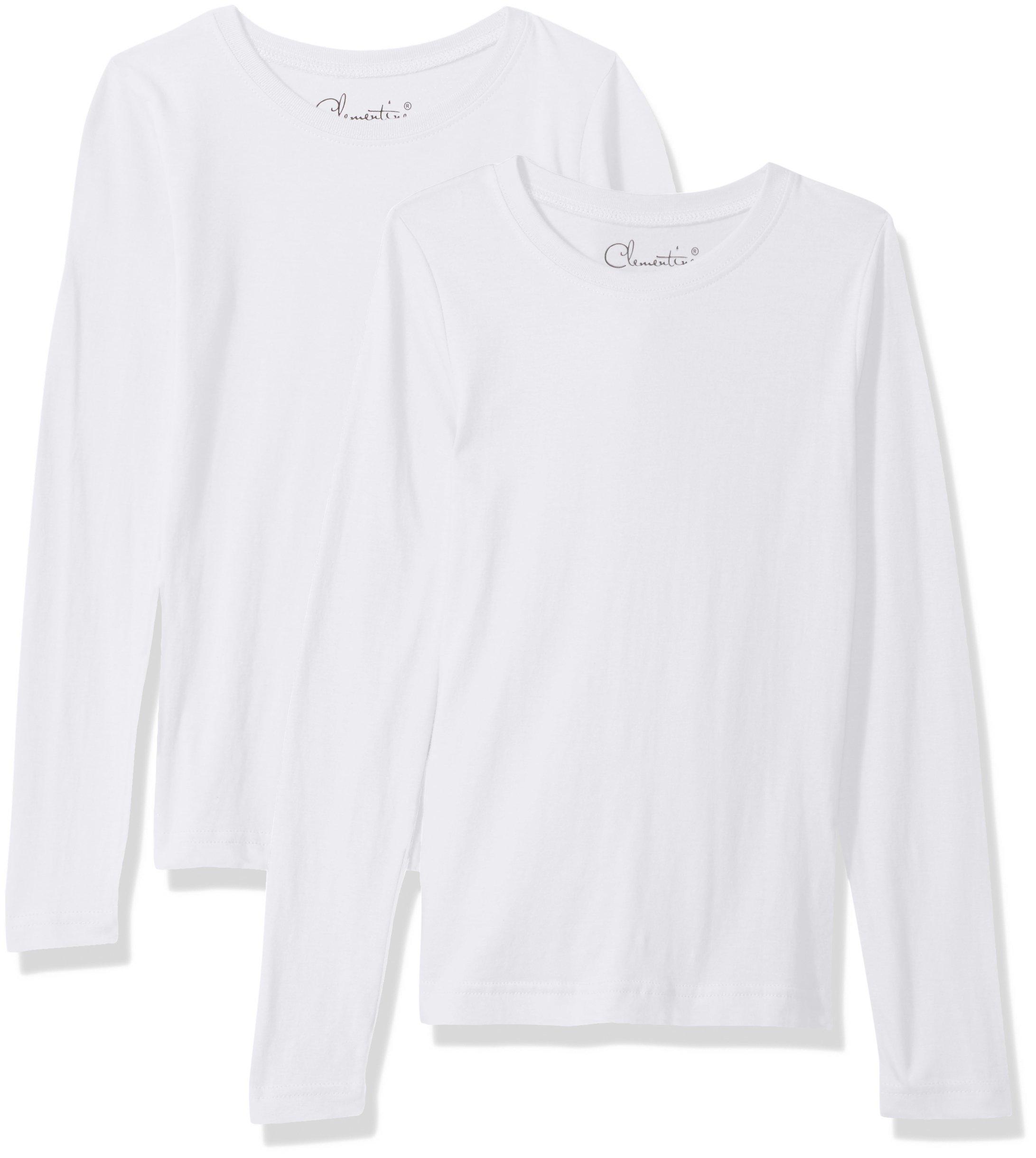 Clementine Big Girls' Everyday T-Shirts Long Sleeve Crew 2-Pack, White/White, M
