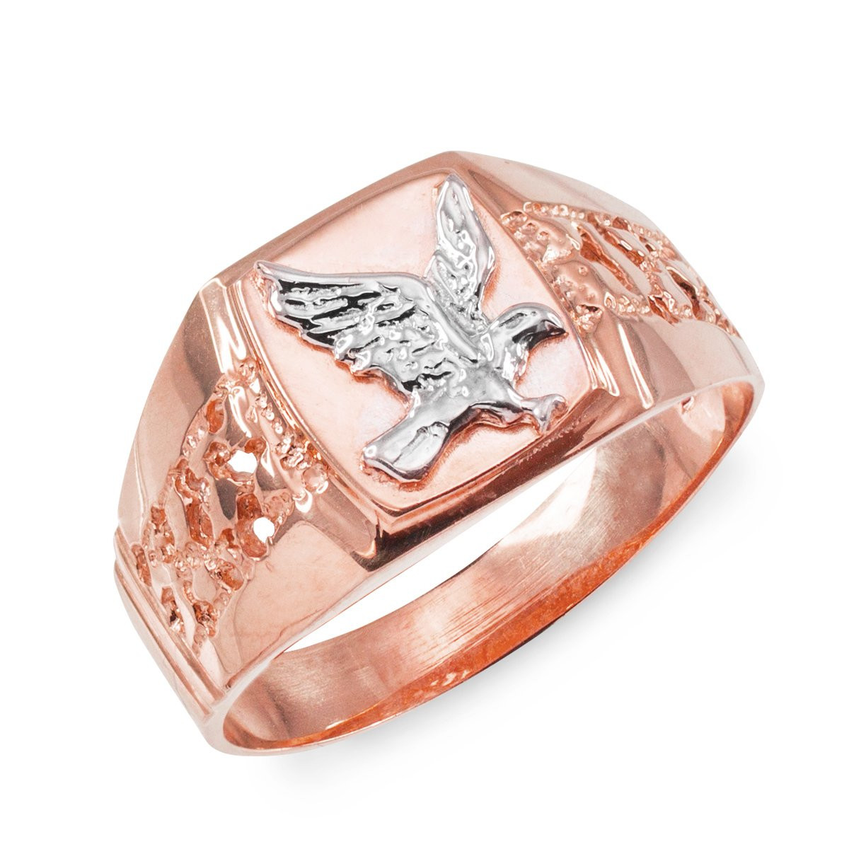 Men's Polished 10k Rose Gold Open Nugget Band American Eagle Ring (Size 10.75)