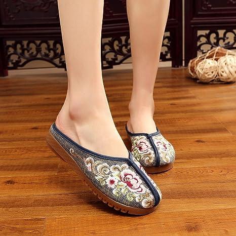 ZQ Gestickte Schuhe, Sehnensohle, ethnischer Stil, weiblicher Flip Flop, Mode, bequem, Sandalen , beige , 36