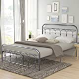 Queen Size Metal Bed Frame Platform No Box Spring Needed with Vintage Headboard and Footboard Premium Steel Slat Support…