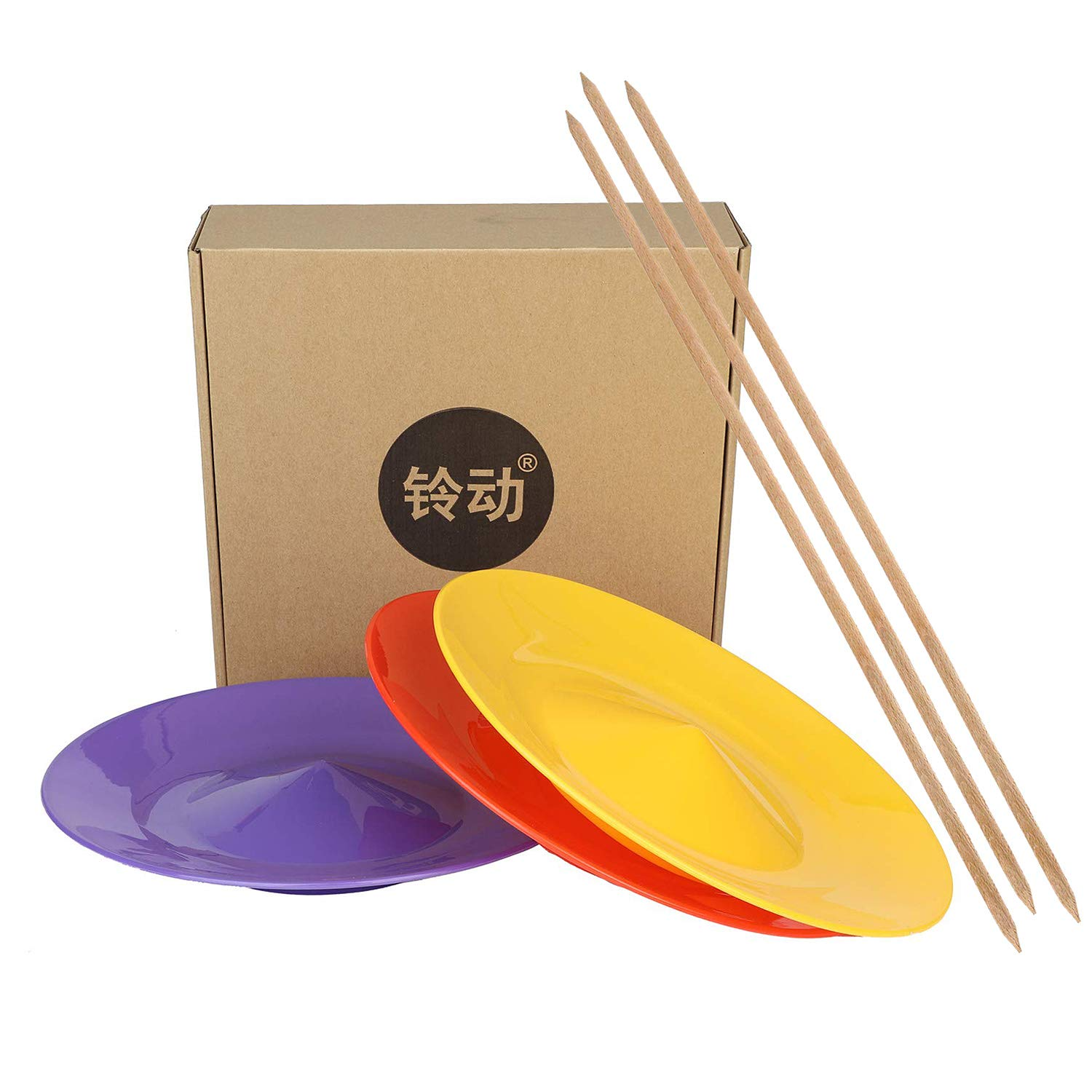 YuXing Professional Spinning Plates / Juggling Plates Set of 3 (11'' 3.8OZ Red Yellow Purple) with 3 Durable Sticks (22.6 Inches 0.7 Ounce) Fit All by YuXing TOY