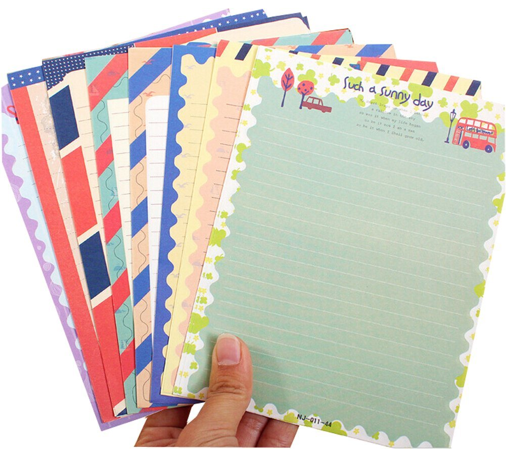 32 Pcs Assorted Color Cute Special Design Writing Paper Letter /& 16 Pcs Envelope Writing Stationery Paper Set