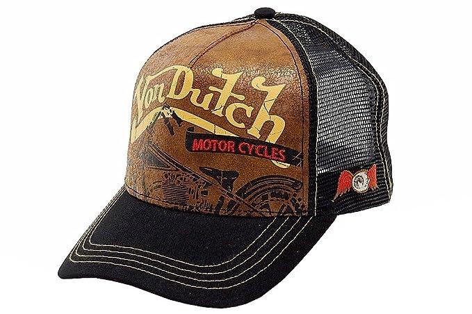 598c4253db7 Von Dutch Century Motorcycles Curved Bill Tan Leather Trucker Cap Hat (One  Size)