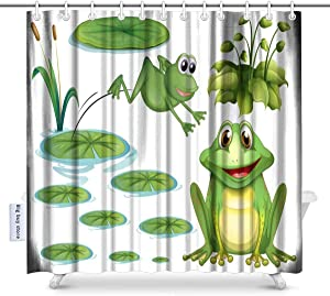 Big buy store Shower Curtain Green Frog and Water Lily Decor ,Waterproof Fabric Bathroom Decor Set with Hooks(70