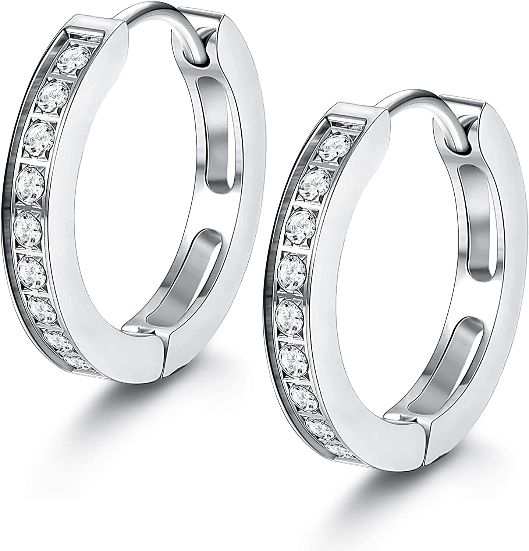 FIBO STEEL 13MM Stainless Steel Small Hoop Earrings for Men Women Huggie Earrings CZ Inlaid