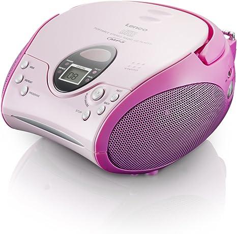 Lenco Scd 24 Mp3 Stereo Ukw Radio Cd Mp3 Player Teleskopantenne Pink Audio Hifi