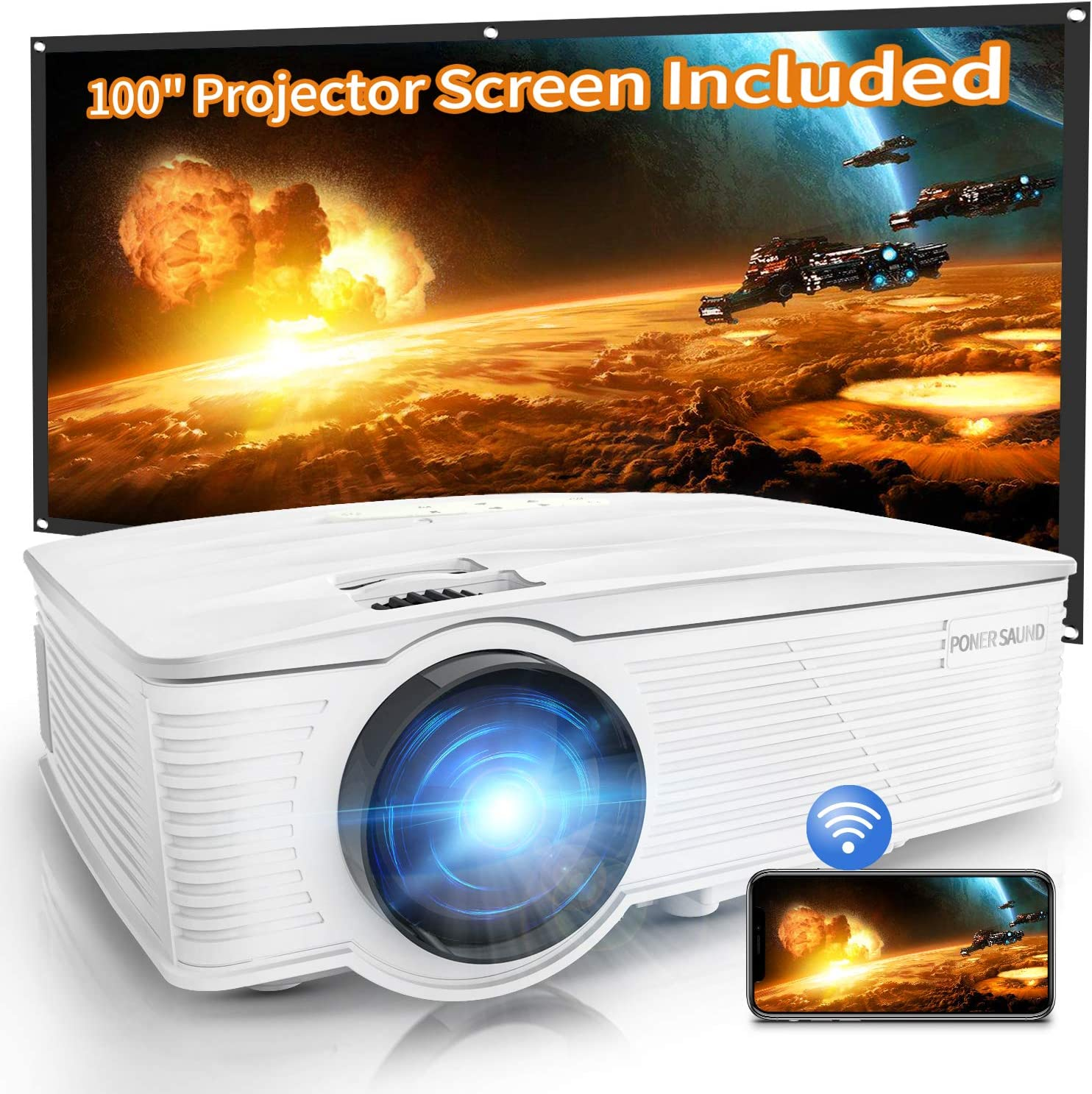 "Projector, WiFi Mini Projector 1080P Supported with 100"" Projector Screen, 5500 Lux 210"" Display Movie Projector, Compatible with Phone, Computer, Laptop, USB, HDMI, VGA-Home, Outdoor Entertainment"