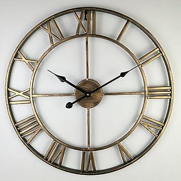 MQHY- Moda Arte de Hierro Reloj de pared Relojes Retro Salón Creativa Reloj de pared silencioso estilo Art bar salón y decoración Housewarming Adornos ...