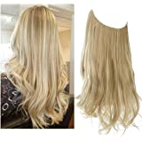 "SARLA 12"" 14"" 16"" 18"" Synthetic Wavy Halo Hair Extension Long Natural Wavy Hairpieces Invisible Wire Heat Friendly Fiber…"