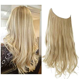Halo Hair Extensions Dirty Blonde Long Curly Synthetic Hairpieces Invisible Headband Wire for Women Heat Friendly Fiber No Clip 16 Inch 3.9 Oz SARLA(M03&16H613)