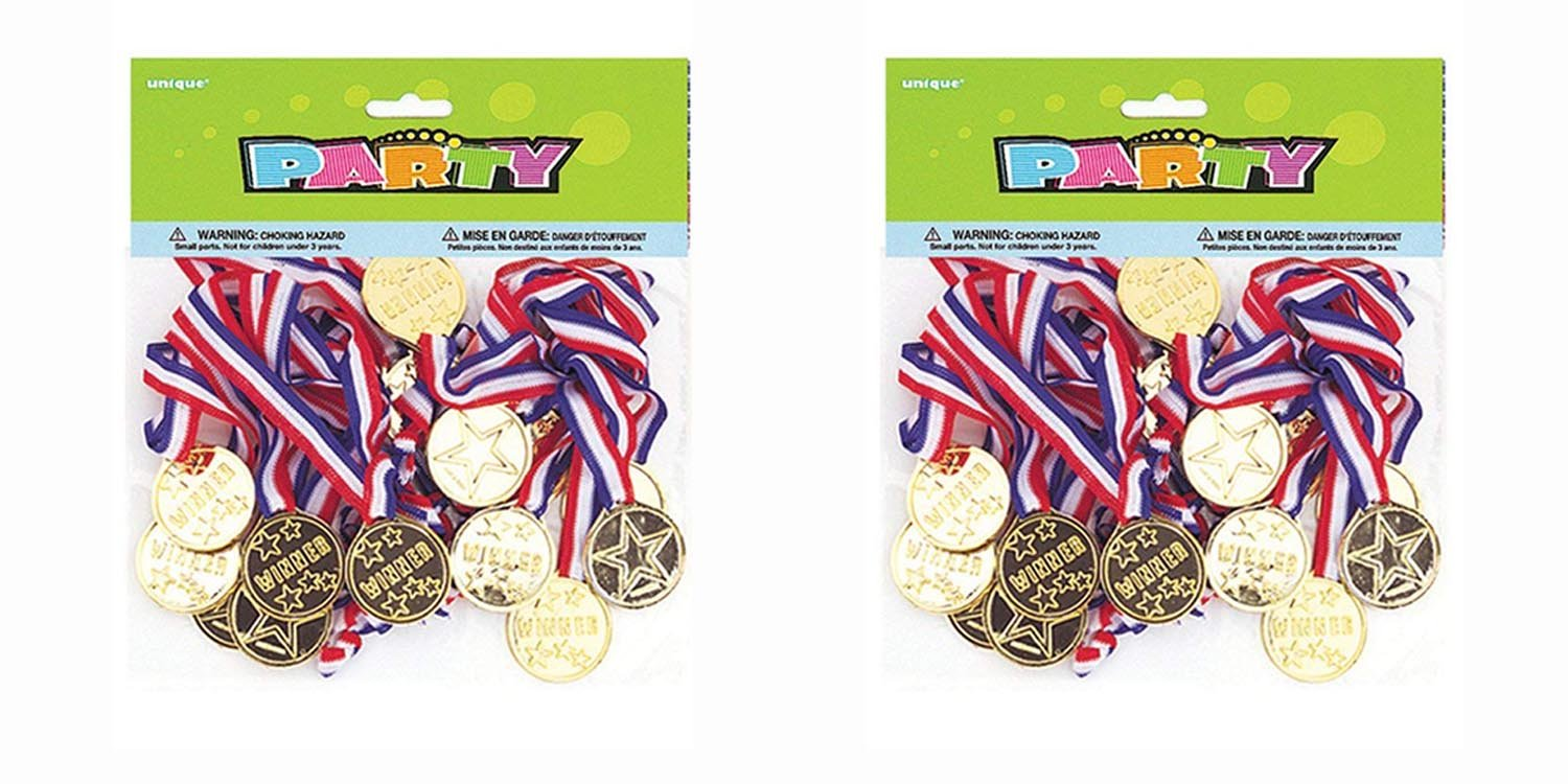 2 Set of 24 Unique Industries Gold Medal Party Game Prizes bundled by Maven Gifts