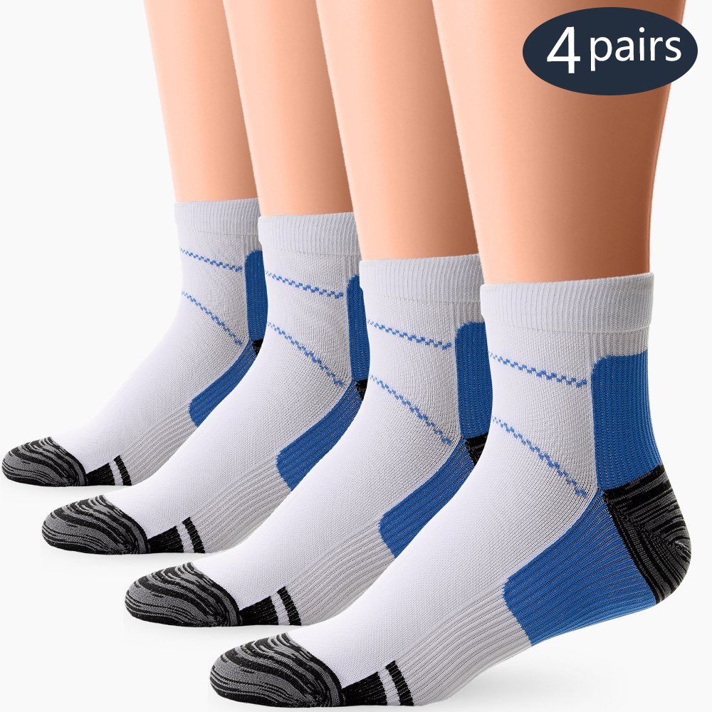 BLUEMAPLE 4 Pair Compression Socks for Women and Men, Compression ankle Socks, regular wear, fashion wear -Say Goodbye to your Pain