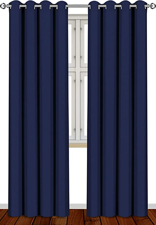 Amazon Com Utopia Bedding 2 Panels Grommet Blackout Curtains Thermal Insulated For Bedroom W52 X L84 Inches Navy Home Kitchen