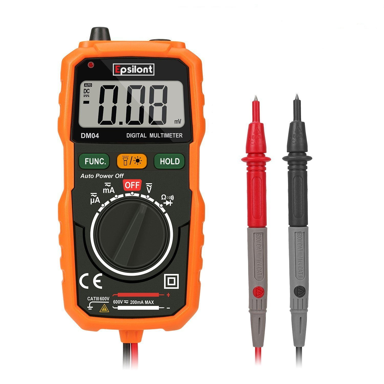 Epsilont EPS1000MM Digital Multimeter, Auto-Ranging Digital Measuring instrument Ac Voltage Detector Amp Ohm Volt Meter Multi Tester Diode with Backlight LCD Display by Epsilont