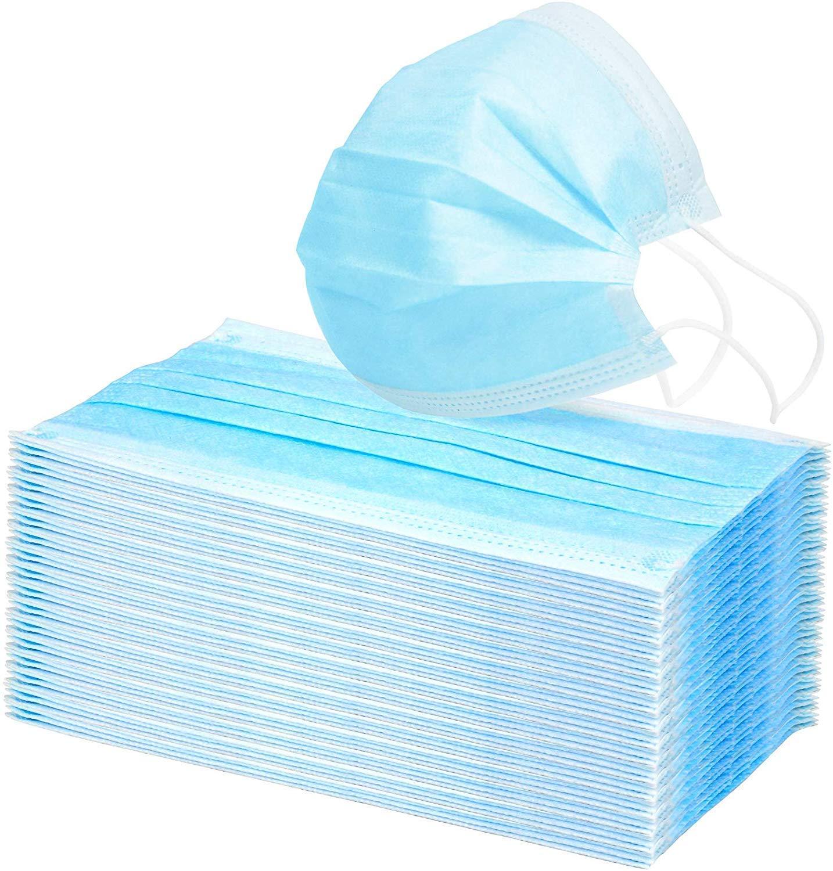 Mascarilla desechable de polvo de 3 capas azul de 1020?50 piezas, mascarilla quirúrgica de ajuste universal, hipoalergénica, libre de látex Súper eficaz contra virus (10)