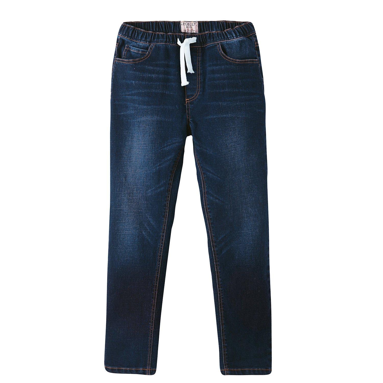 Leo&Lily Boys' Kids' Elastic Waist Regular Fit Stretch Denim Jeans- Blue (Blue, 10)