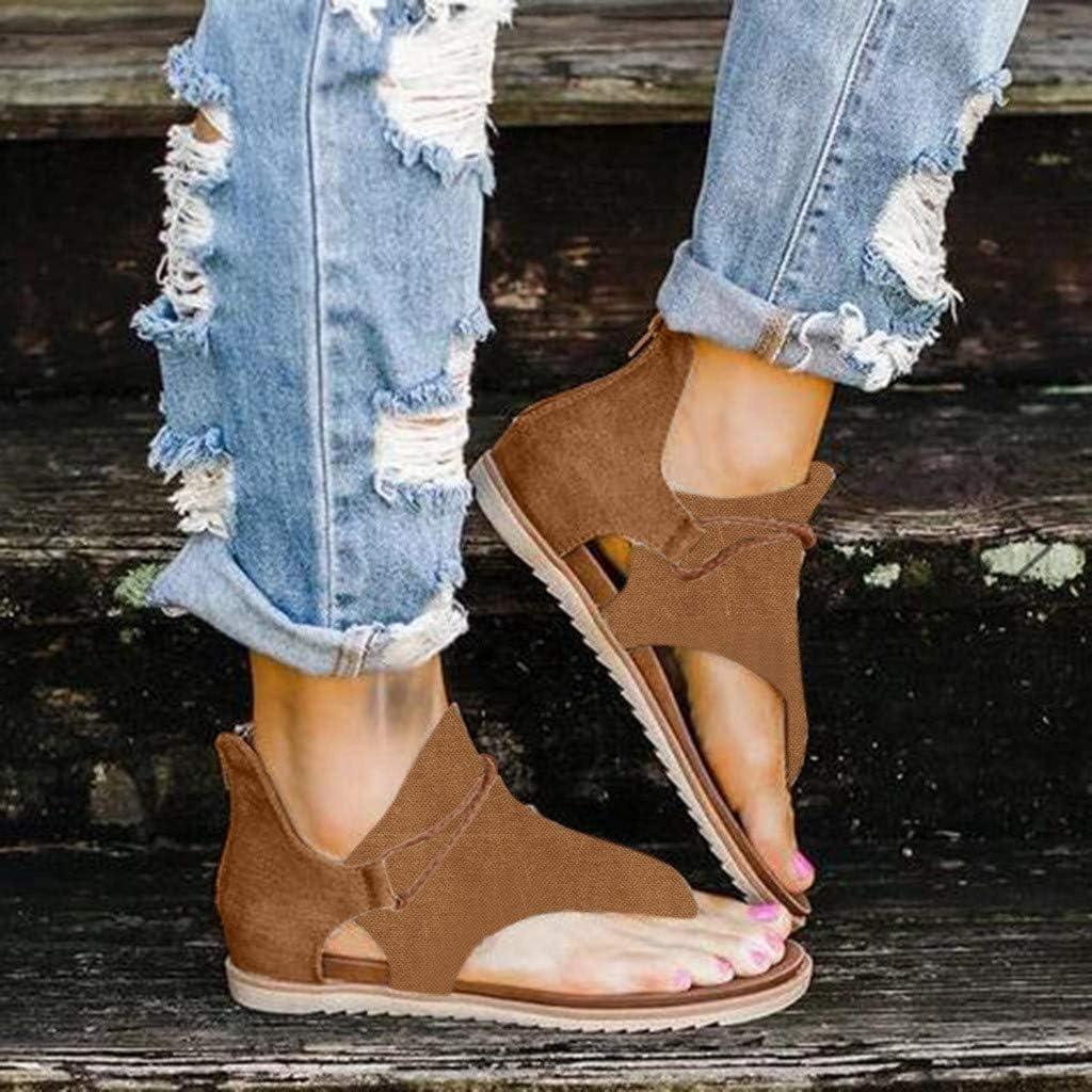 Sandals for Women Flat,2020 Super Comfy Sandals Ladies Summer Flat Slip On Sandals Casual Zipper Vintage Shoes