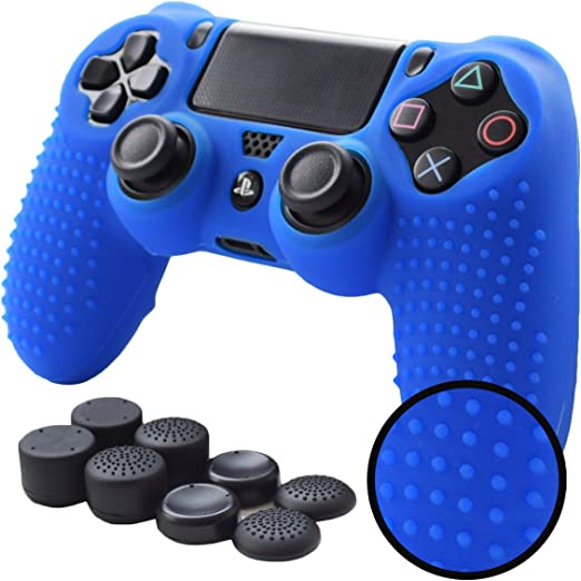 PS4 Controller Grips,Pandaren Studded Anti-Slip Silicone Cover Skin Set Compatible for PS4 /Slim/PRO Controller(Blue Controller Skin x 1 + FPS PRO Thumb Grips x 8)