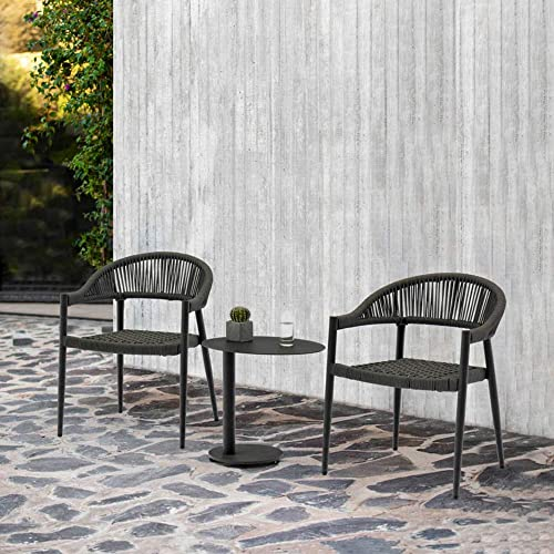 Whiteline Modern Living Stackable Grey Leyla Dining Arm Chair Aluminum Oifen Rope Seat,Set of 4