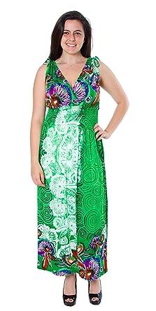 Women's Plus Size Ankle Length Flowers Maxi Dress (Plus Size 2X, Green)