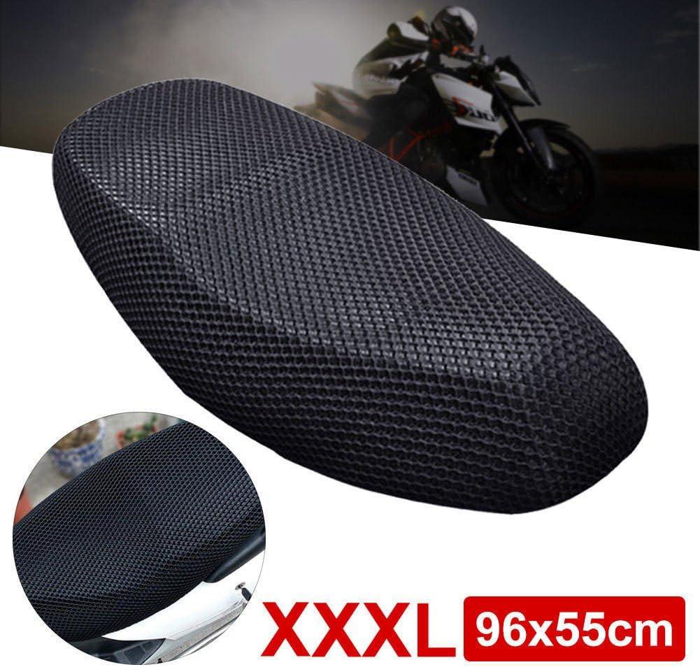 GEZICHTA Almohadilla 3D para Asiento de Motocicleta, Malla de Asiento de Bicicleta Eléctrica 3D, Protector de Refrigeración, Color Negro, XXXL 96x55cm: Amazon.es: Deportes y aire libre