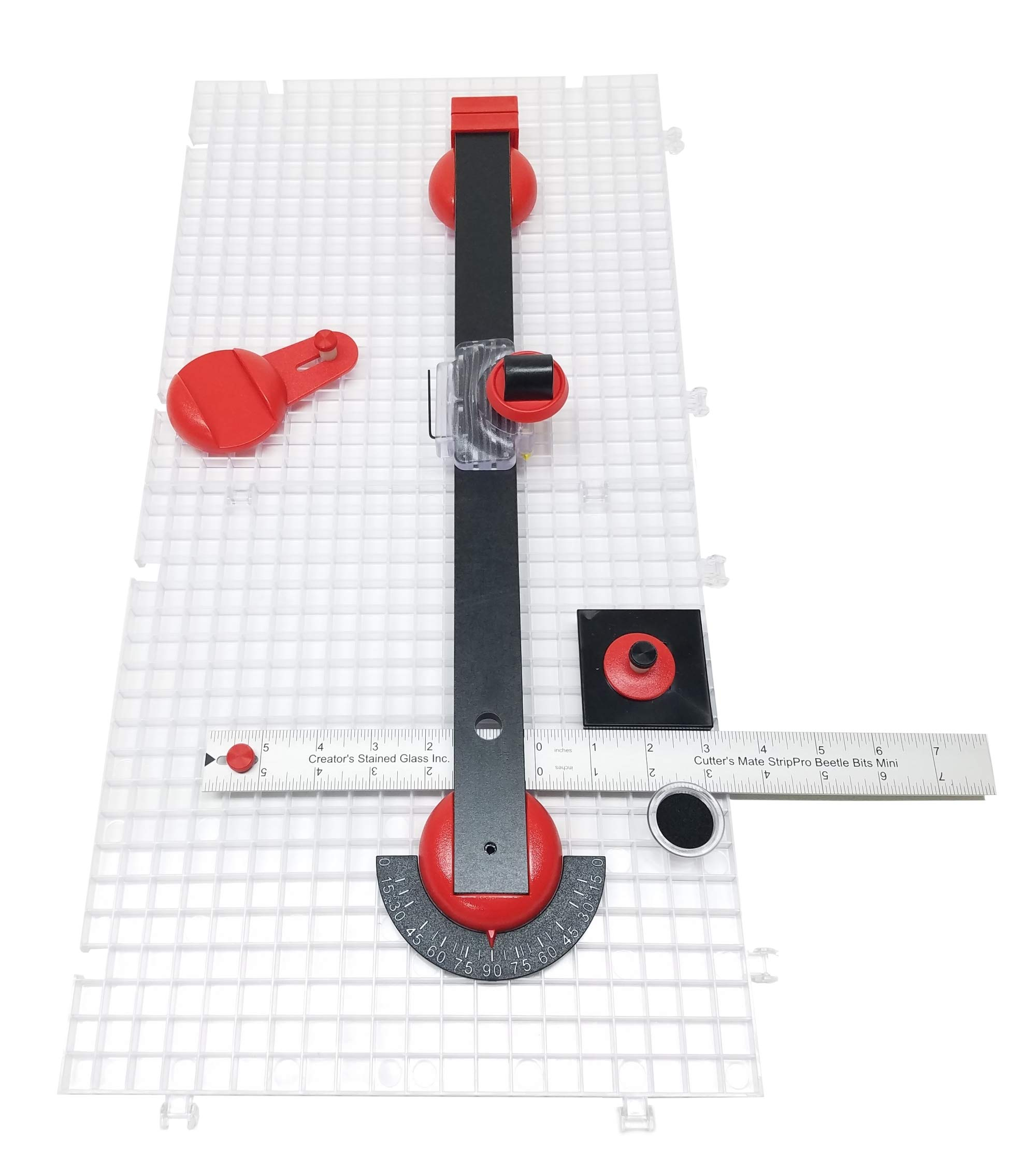 Creator's Beetle Bits Mini Glass Cutting System Portable Work Station For Geometric Shapes COMPLETE WITH 2 Waffle Grids AND Push Button Flying Beetle Glass Cutter INCLUDED - DIY - Made In The USA by Creator's (Image #1)