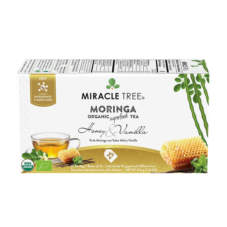 Miracle Tree - Organic Moringa Superfood Tea, 25 Individually Sealed Tea Bags, Honey & Vanilla