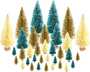 Etmact 24 Pieces Mini Pine Trees Set Sisal Snow Frost Trees with Wood Base Bottle Brush Trees Plastic Winter Snow Ornaments Tabletop Trees for Crafting, Displaying and Decoration, Assorted Sizes