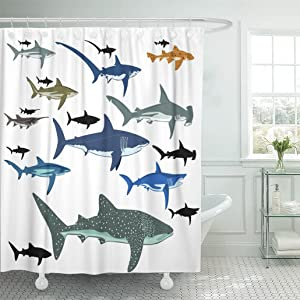 """Emvency 72""""x78"""" Shower Curtain Waterproof Mildew Black Whale Shark Blue Species Reef Aquatic Life Fin Miscellaneous Bite Picture Print Polyester Fabric Adjustable Hook"""
