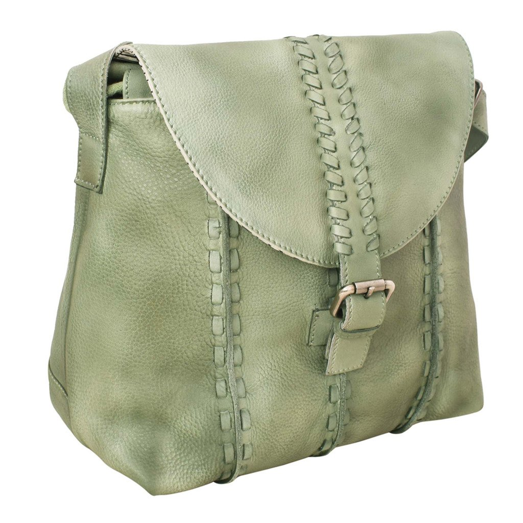 Latico Leathers Kimber Cross Body Bag Genuine Authentic Luxury Leather, Designer Made, Business Fashion and Casual Wear, Washed Green