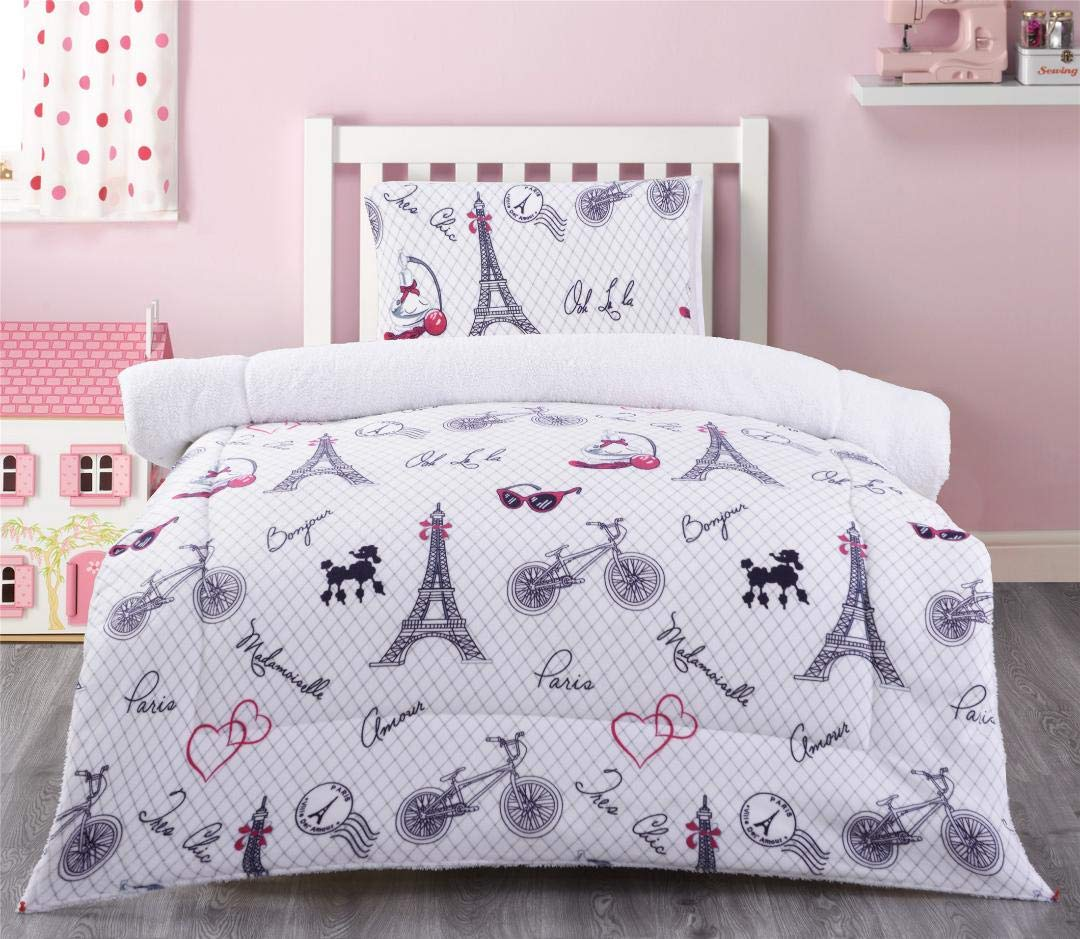 MB Home 2 Pieces Ultra Soft & Warm Baby Toddler Girls Sherpa Blanket with Pillow Case Multicolor White Pink Black Paris Eiffel Tower Bonjour Printed Borrego Bed Blanket Plush Throw Twin Size # Paris