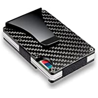 Kyson Slim Carbon Fiber Credit Card Holder RFID Blocking Metal Wallet Money Clip Case