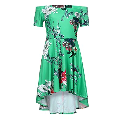 better-caress Summer Dress Vintage Printing Off Shoulder Casual Evening Party Prom Swing Summer Dress