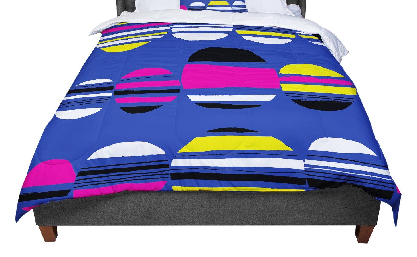 KESS InHouse Emine Ortega 'Retro Circles Cobalt' Queen Comforter, 88' X 88'