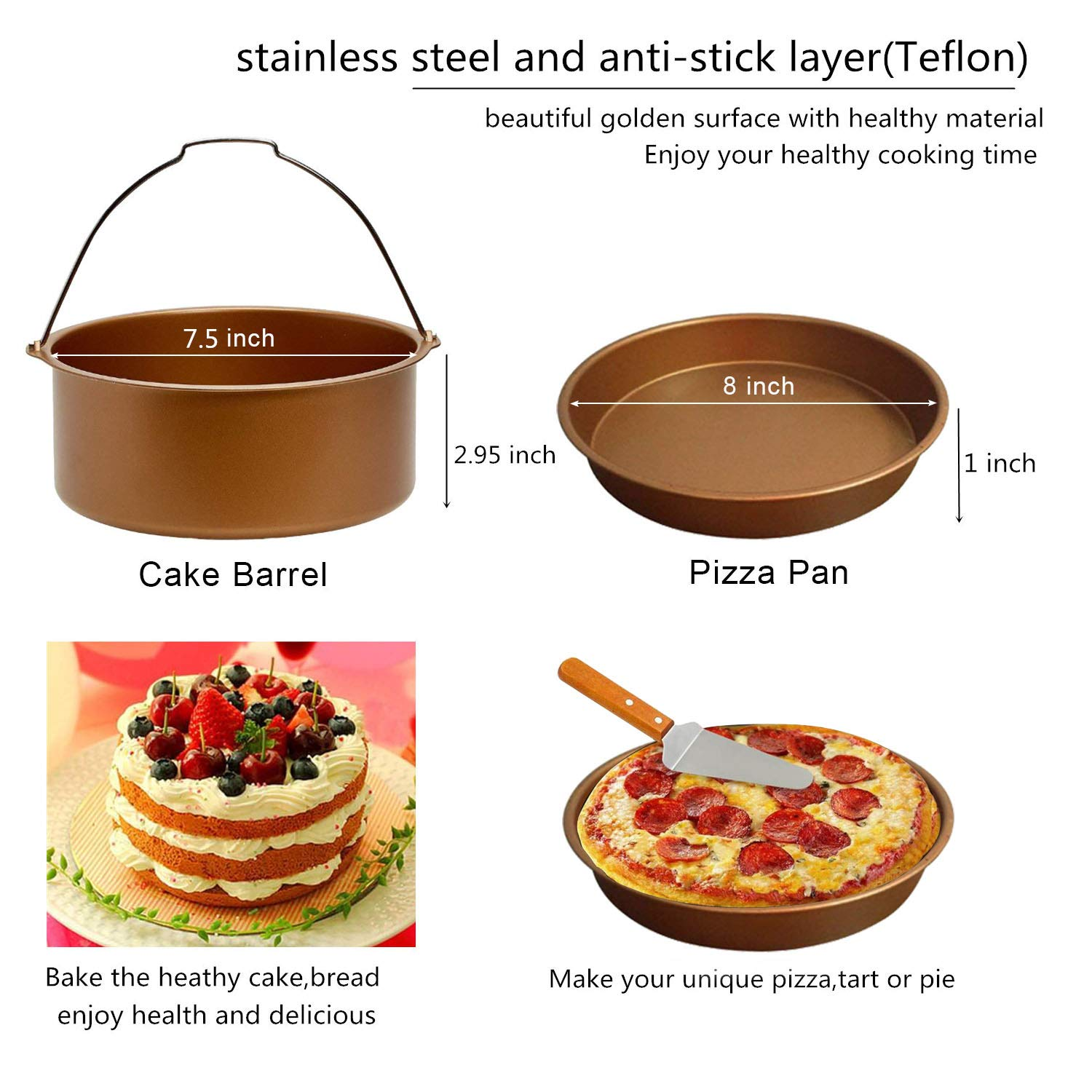 Pizza Pan Air Fryer Accessories 8 inch XL,for Gowise Phillips Cozyna Ninja 4.2QT to 6.8 QT with Recipe Cookbook Rust Proof Golden Cake Barrel 14pcs Silicone Oil Brush Mat,Baking Cups.etc